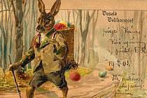 Historická pohlednice k Velikonocům. Ilustrační snímek