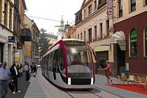 Vizualizace tramvaje v Soukenné ulici v Jablonci, před vjezdem na Dolní náměstí.