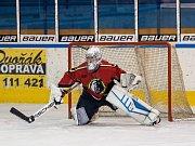 Druhý zápas čtvrtfinále play off 2. ligy ledního hokeje skupiny Západ + Střed se odehrál 14. března 2017 na Jabloneckém zimním stadionu. Utkaly se celky HC Vlci Jablonec nad Nisou a HC Tábor. Na snímku brankář Jiří Stejskal.