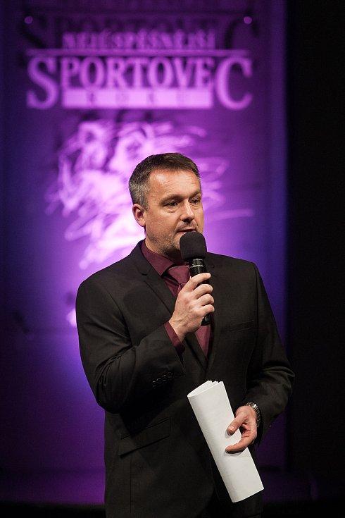 Slavnostní vyhlášení ankety Nejúspěšnější sportovec Jablonecka za rok 2017 proběhlo 29. ledna v Městském divadle v Jablonci nad Nisou. Na snímku je moderátor Radek Šilhan.