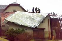 Odstraňování škod po vichřici.