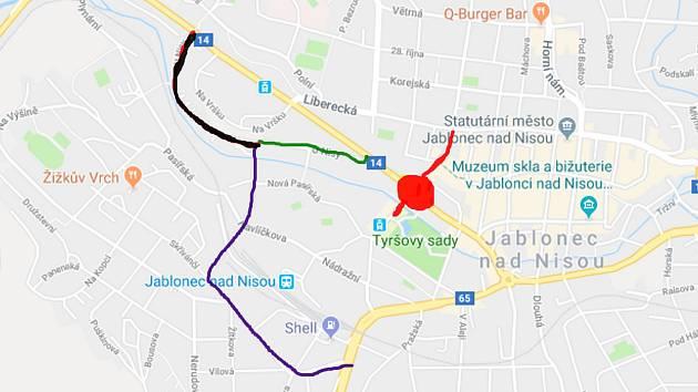 Uzavírky a objízdné trasy. Červená: místa práce. Zelená - objížďka směrem od Liberce. Černá - objížďka směrem na Liberec. Fialová - společná trasa objížděk.