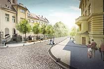 Pohled do Poštovní ulice kolem Městského divadla a budovou pošty dle vítězného návrhu.