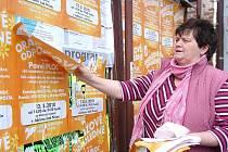 Irena Böhmová likviduje nelegálně vylepené plakáty ČSSD na jí pronajatých vylepovacích plochách v Jablonci.