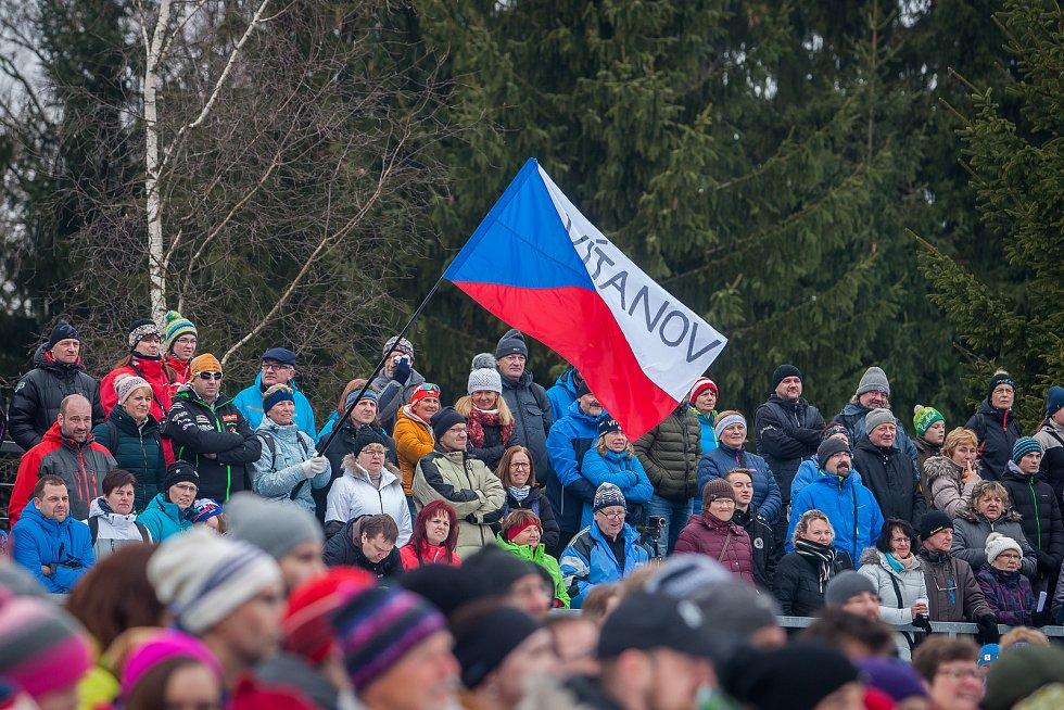 Exhibiční Mistrovství České republiky v biatlonovém supersprintu proběhlo 23. března ve sportovním areálu Břízky v Jablonci nad Nisou. Na snímku jsou biatlonoví fanoušci.