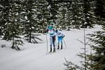 Jizerská 50, závod v klasickém lyžování na 50 kilometrů zařazený do seriálu dálkových běhů Ski Classics, proběhl 18. února 2018 již po jedenapadesáté. Na snímku vlevo je Andreas Holmberg.