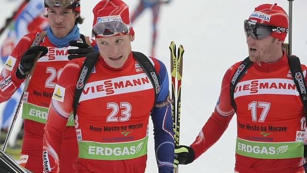 Čeští reprezentanti v biatlonu Jaroslav Soukup, Ondřej Moravec a Michal Šlesingr.