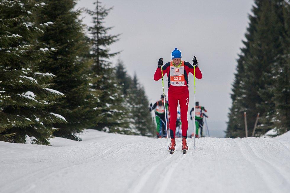 Jizerská 50, závod v klasickém lyžování na 50 kilometrů zařazený do seriálu dálkových běhů Ski Classics, proběhl 18. února 2018 již po jedenapadesáté. Na snímku je Josef Maňásek.