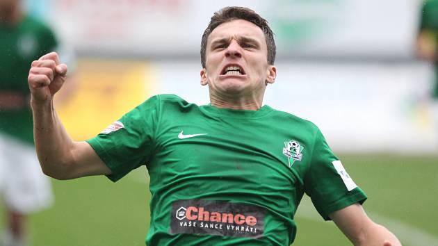 Jablonec porazil České Budějovice 2:1. Na snímku se raduje David Lafata z Jablonce po vstřelení vítězné branky z penalty.