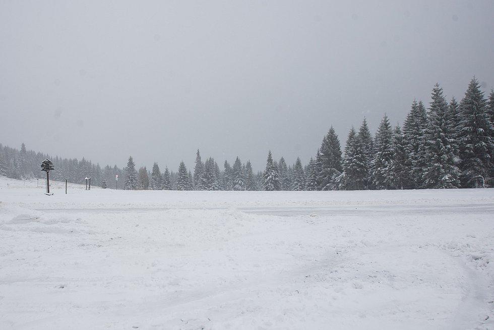 Sněhová nadílka pokryla v noci z 12. na 13 listopadu Jablonecko. Na snímku je situace na Jizerce.