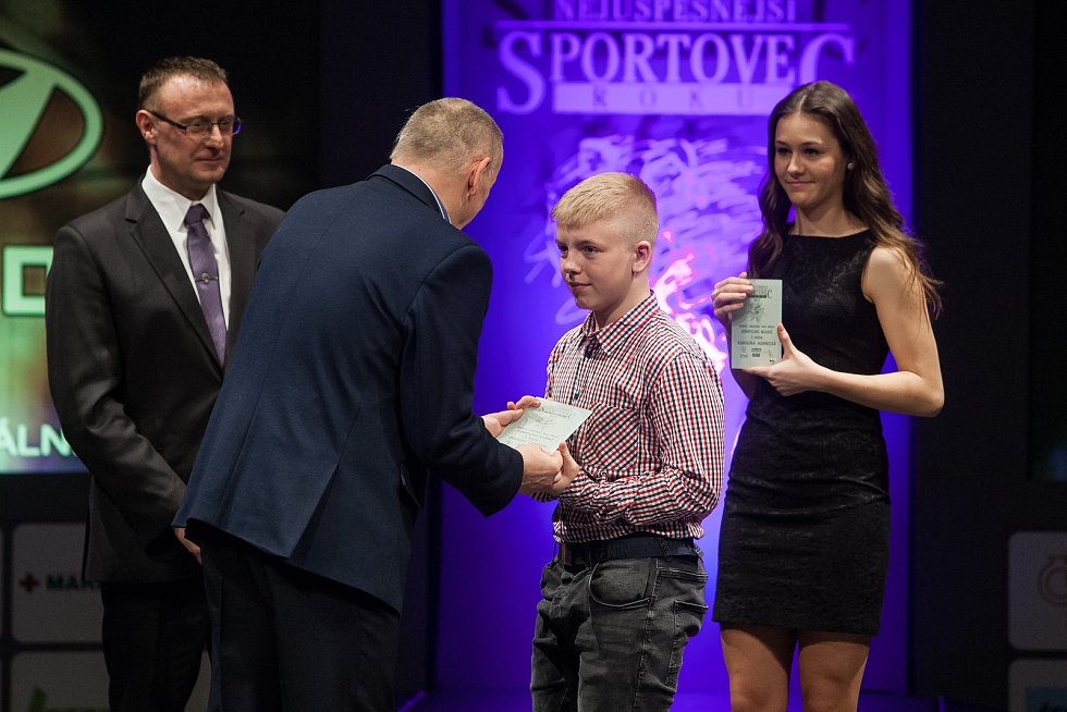 Slavnostní vyhlášení ankety Nejúspěšnější sportovec Jablonecka za rok 2017 proběhlo 29. ledna v Městském divadle v Jablonci nad Nisou. Na snímku přebírá cenu Ondřej Chvátal.