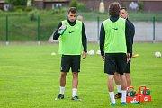 Trénink mužstva FK Jablonec pořádaný v rámci mediálního dne před zahájením sezony proběhl 25. července v Jablonci nad Nisou. Na snímku vlevo Nikola Janković.