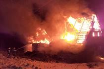 Požár domu v Lučanech nad Nisou.