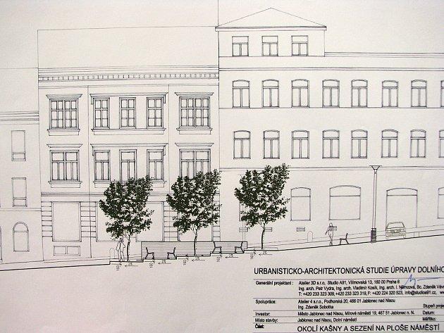 Studie architekta Petra Vydry z Ateliéru 3D na vybudování okolí kašny na Dolním náměstí a jeho osázení zelení.