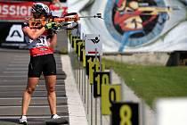 Biatlonisté bojovali o tituly mistrů na horských kolech. Na snímku vítězka Gabriela Soukalová.