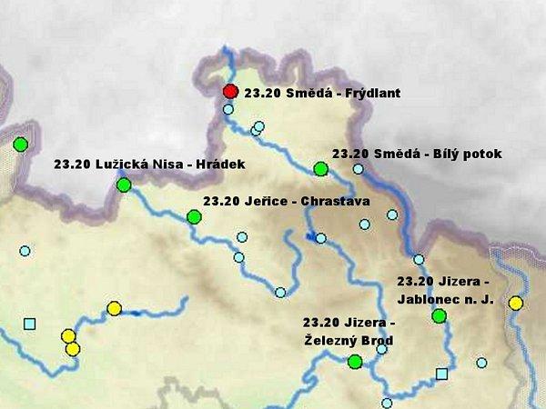 Situace vLibereckém kraji vsobotu 1.6. ve 23.20