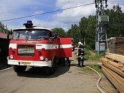 Sbor dobrovolných hasičů Lučany nad Nisou. Požár na pile v Lučanech.