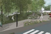 Vizualizace parku na Paseckém náměstí.