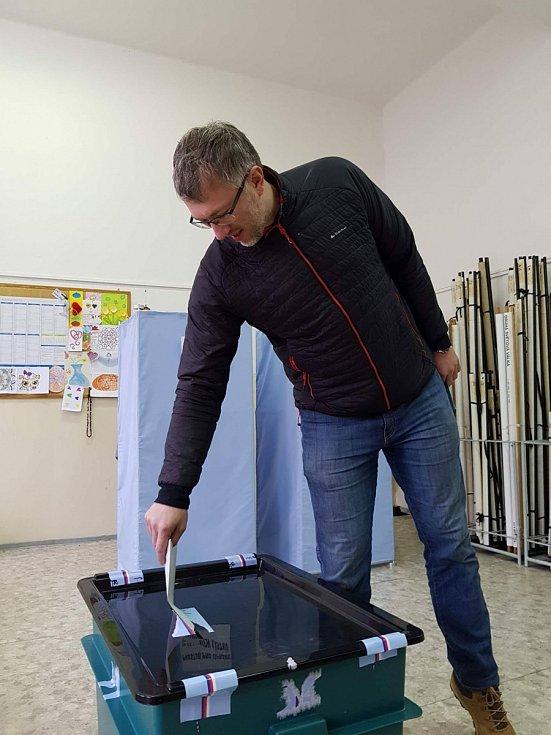 Prezidentské volby v okrsku č. 6, v budově Základní školy 5. května v Jablonci nad Nisou.