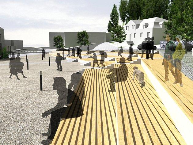 Takto by mělo smržovské náměstí T.G.M.  vypadat. Autorem návrhu je David Pavlišta