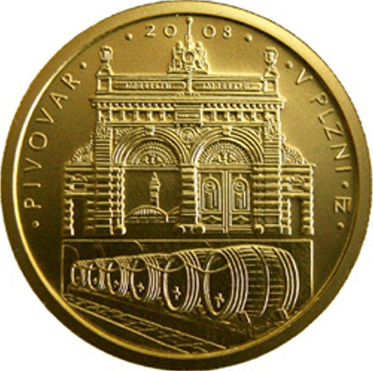 Zlatá mince s nominální hodnotou 2500 korun připomíná Pivovar v Plzni. Autorem je Zbyněk Fojtů.