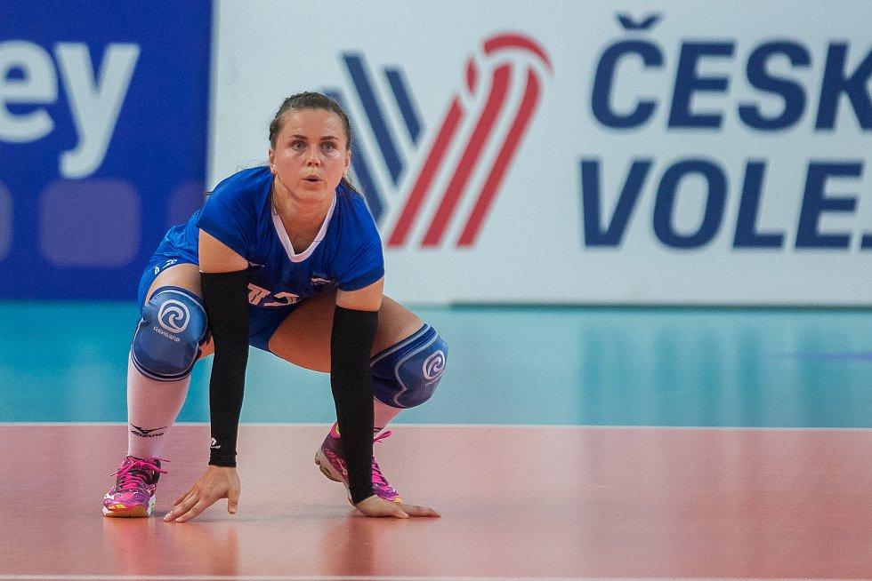 Kvalifikační utkání o postup na volejbalové mistrovství Evropy 2019 žen mezi reprezentačním výběrem České republiky a Estonska se odehrálo 22. srpna v Jablonci nad Nisou. Na snímku je Kristi Nolvak.