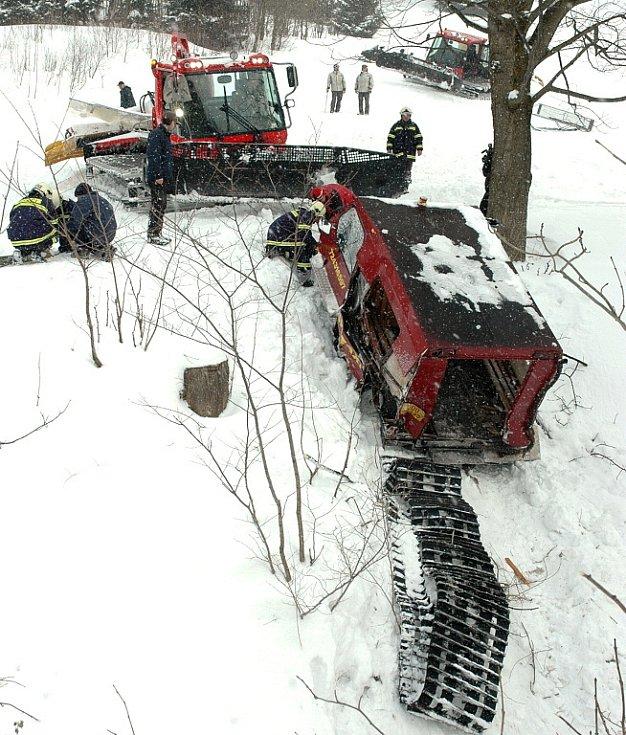 Nehoda rolby si vyžádala jedenáct zraněných, z toho pět dětí. Rolba se před dvanáctou dopoledne dostala do technických potíží a vjela pozadu do potoka z pětimetrového srázu. Zraněnou ženu odvezl vrtulník, který přistál přímo na sjezdovce.