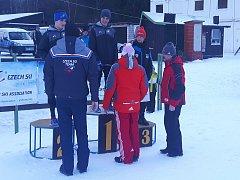 František Lejsek, nadějný juniorský skokan na lyžích, na nejvyšším stupínku