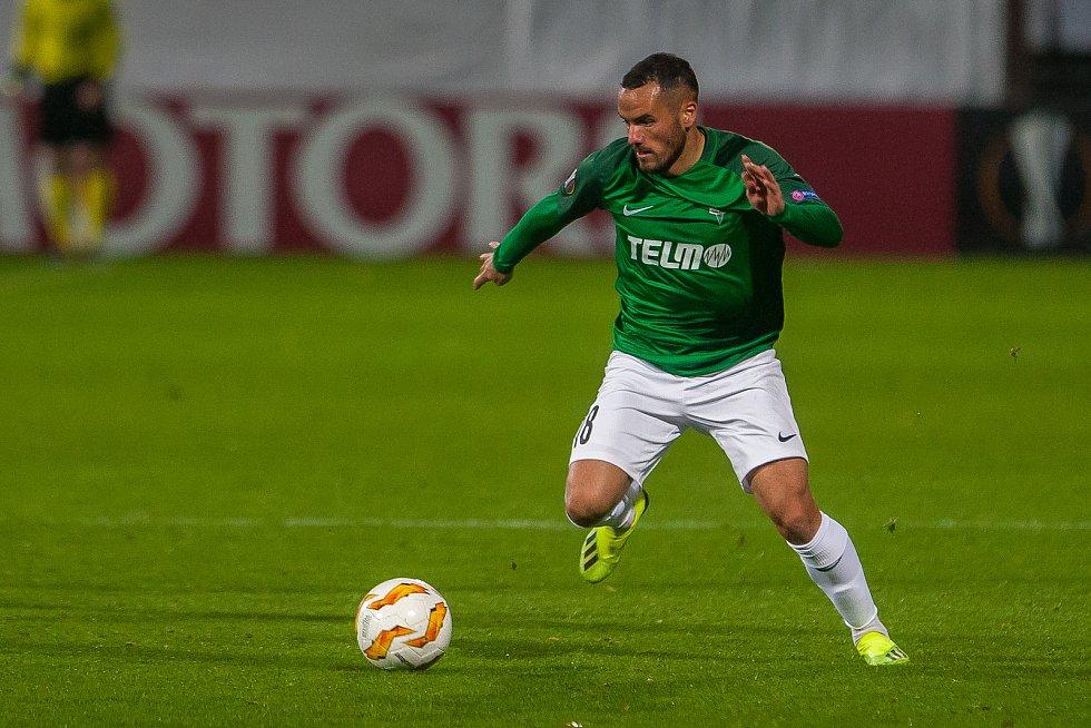 Zápas skupiny K Evropské ligy mezi týmy FK Jablonec a FC Astana se odehrál 25. října na stadionu Střelnice v Jablonci nad Nisou. Na snímku je Rafael Acosta.