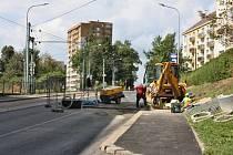 Výkop v ulici Budovatelů v Jablonci