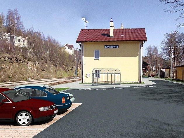 Přednádražní terminál Horní Smržovka. Úřad regionální rady vrátil projekt k přepracování, město musí vyjmout přístupové cesty a komunikace.