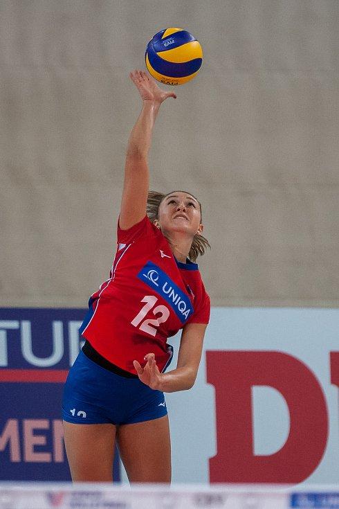 Kvalifikační utkání o postup na volejbalové mistrovství Evropy 2019 žen mezi reprezentačním výběrem České republiky a Švédska se odehrálo 15. srpna v Jablonci nad Nisou. Na snímku je Michaela Mlejnková.