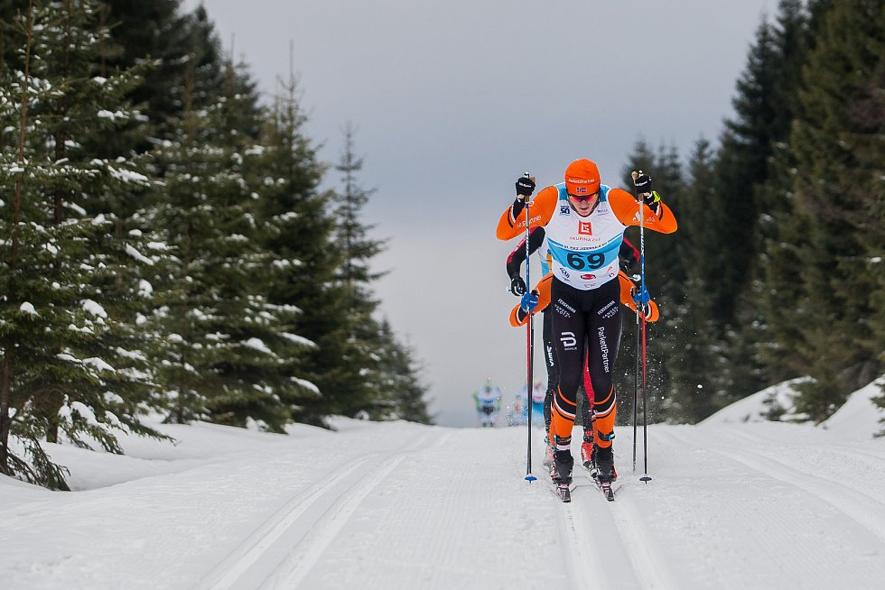 Jizerská 50, závod v klasickém lyžování na 50 kilometrů zařazený do seriálu dálkových běhů Ski Classics, proběhl 18. února 2018 již po jedenapadesáté. Na snímku je Vinjar Skogsholm.