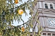 Vánoční stromek se skleněnými ozdobami na železnobrodském náměstí loni.