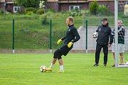 Trénink mužstva FK Jablonec pořádaný v rámci mediálního dne před zahájením sezony proběhl 25. července v Jablonci nad Nisou. Na snímku brankář Roman Valeš.