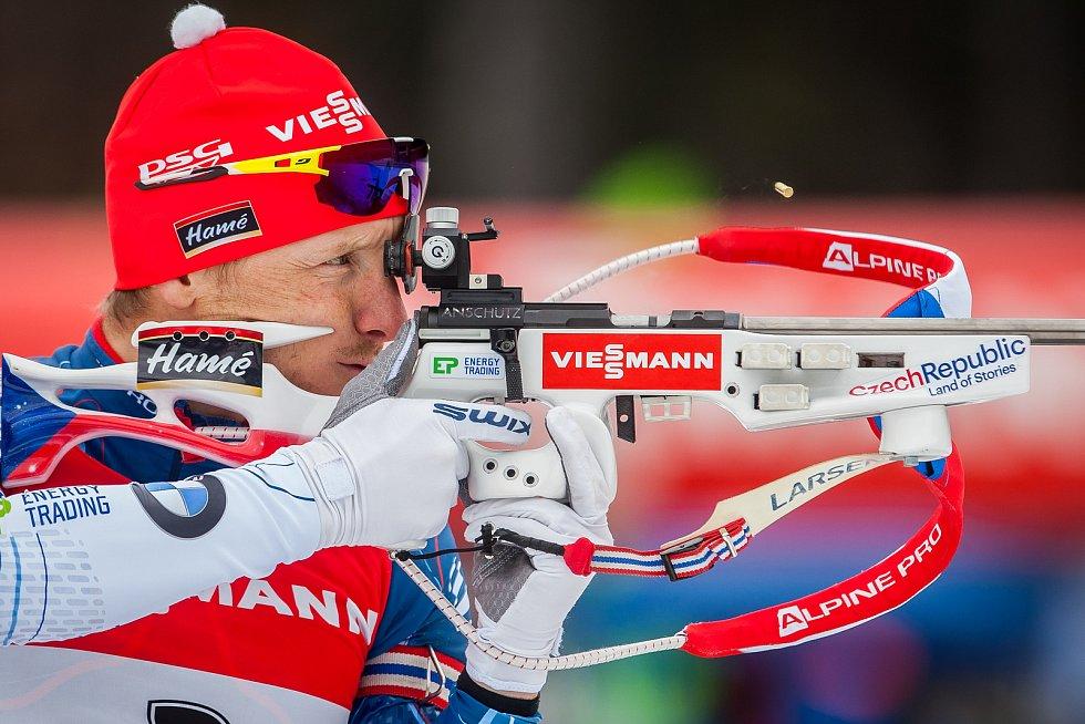 Exhibiční Mistrovství České republiky v biatlonovém supersprintu proběhlo 23. března ve sportovním areálu Břízky v Jablonci nad Nisou. Na snímku je biatlonista Ondřej Moravec.