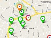 Výřez jablonecké mapy z mobilní aplikace Lepší místo.