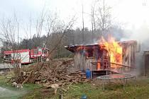 Požár sauny v Podmoklicích.