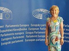 Novinářka Dagmar Březinová na semináři v Bruselu.