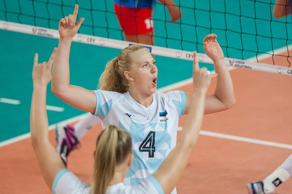 Kvalifikační utkání o postup na volejbalové mistrovství Evropy 2019 žen mezi reprezentačním výběrem České republiky a Estonska se odehrálo 22. srpna v Jablonci nad Nisou. Na snímku je Kristiine Miilen.