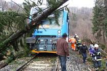 Ilustrační snímek - jen těsně před vlak spadl strom v prosinci loňského roku na Frýdlantsku