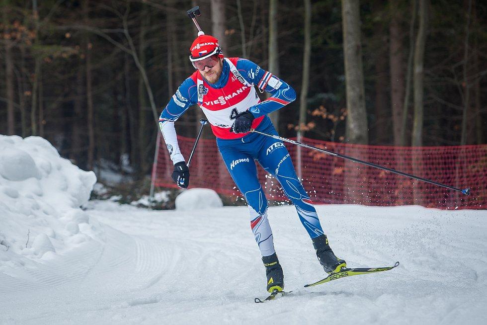 Exhibiční Mistrovství České republiky v biatlonovém supersprintu proběhlo 23. března ve sportovním areálu Břízky v Jablonci nad Nisou. Na snímku je biatlonista Jaroslav Soukup.