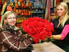 Vedoucí poradny z organizace ROZKOŠ bez RIZIKA Jana Poláková rozdávala na MDŽ ženám v erotických klubech karafiáty. Na snímku přejímá kytici v květinářství.