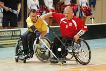 Jan Rajznover (21) se snaží získat míč před švédským hráčem Andersem Froslundem. I přes bojovnost nestačil výběr České republiky na suverénní Švédsko a naši prohráli 6:2.