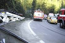 Nehoda kamionu na silnici I/10 u Železného Brodu.