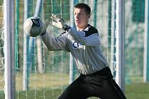 Fotbalový brankář Luděk Frydrych  v dresu Baumitu Jablonec.