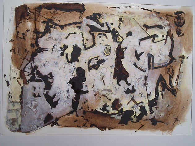 DÁMA, 2014, olej, karton, 34 x 49 cm.