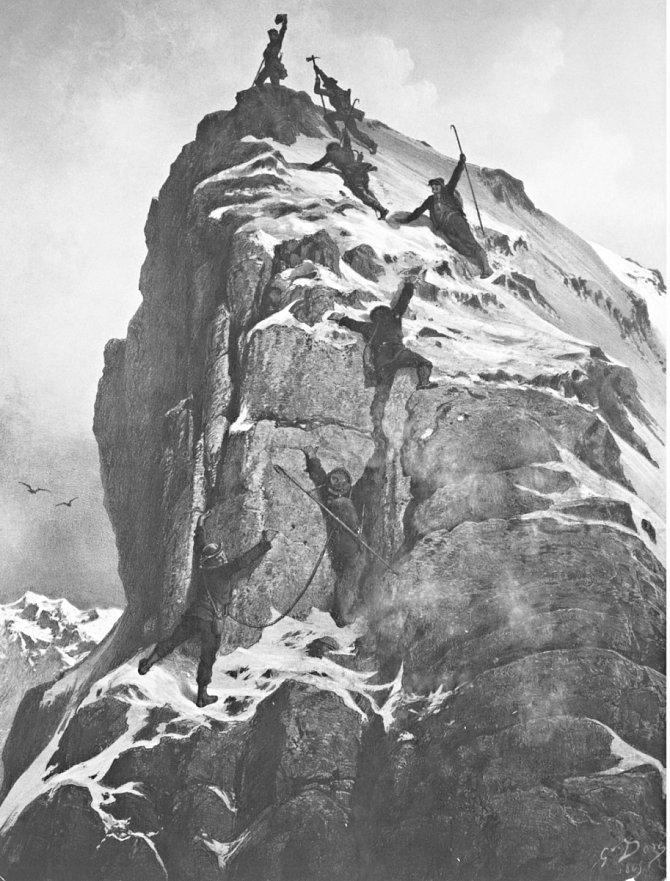 Ilustrace zdolání Matterhornu před 150lety