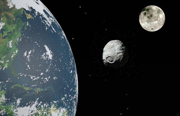 Cruithne zasazený mezi Zemi a Měsíc
