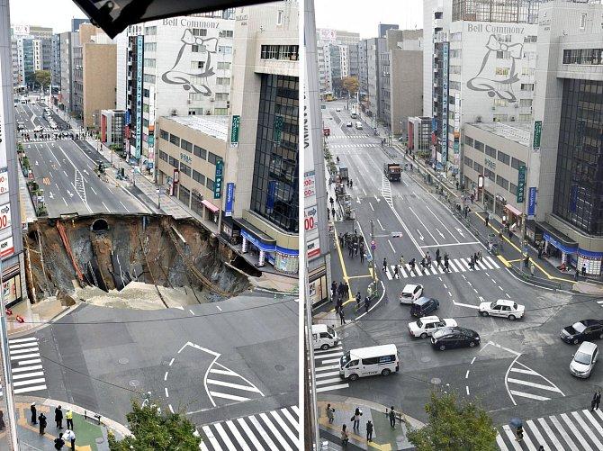 48 hodin stačilo Japoncům na kompletní opravu rušné silnice poblíž vlakového nádraží ve městě Fukuoka. Obří kráter, který byl 30 metrů dlouhý a 15 metrů hluboký, vznikl kvůli nedaleko budovanému tunelu metra.